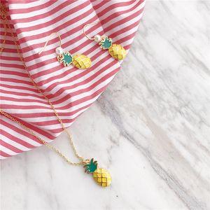 POFUNUO 925 стерлингового серебра женщин лето Тропический остров Ананас Шарм ожерелье Мода Fine Jewelry девушки подарки костюмы ожерелье