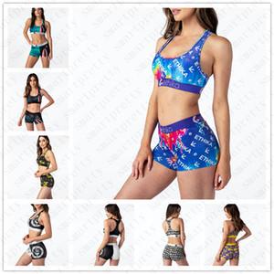 2020 Kadınlar Mayo Harf Karikatür Baskı Tasarımcı Mayo Push Up Sütyen Tank Yelek Crop Top Şort 2adet bikini Beachwear D51903 ayarlar