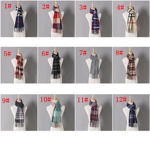 Bufanda de invierno a cuadros de cachemira a cuadros Bufanda cálida Bufandas Chales femeninos Borla Damas a cuadros de invierno Bufanda de mujer LJJK1845