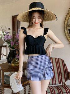 2019Nuevas mujeres coreanas traje de baño de dos piezas Sexy frente giro corte hebilla honda sin tirantes Stringy Selvedge falda sin espalda traje de baño