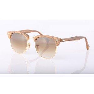 Top quality Wood grain sunglasses Metal hinge Brand Designer sunglasses men women Semi-Rimless frame Mirror glass lenses Cat Eye sun glasses