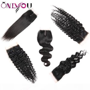 Onlyou Hair? Human Hair Extensions Top Closures Straight Body Deep Water Wave Brazilian Virgin Hair 4*4 Middle Free Lace Closure Wholesale