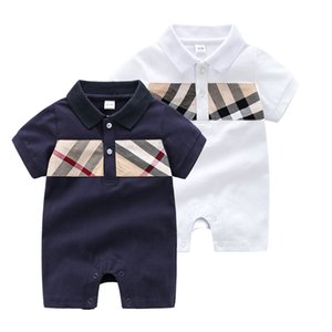 Baby rompers baby boys plaid jumpsuits toddler kids lapel short sleeve lattice rompers children cotton gentleman clothing A2338