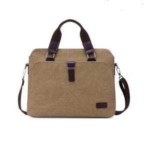 Mens Canvas Портфели сумки плеча коммерческого пакета Portable Document Компьютер пакет ремешок регулируемый Повседневный Vintage портфель