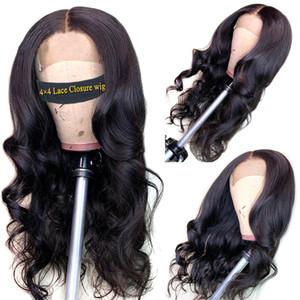 İnsan Saç Peruk Dantel Ön İnsan Saç Peruk 4 * 4 Dantel Kapatma Peruk Brezilyalı Vücut Dalga Peruk Siyah Kadınlar İçin Fairgreat Dantel Frontal Peruk