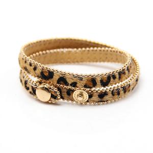 Couro Moda Leopard Bracelet Bangle ajustável Double Layer botão Snap Enrole Pulseiras cavalo Mulheres Cabelo jóia elegante para meninas das senhoras