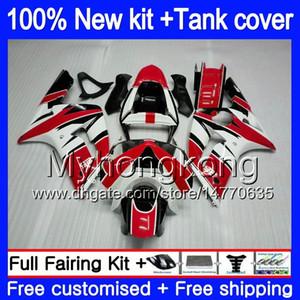 Cuerpo + tanque para Kawasaki ZX6R 600cc ZX600 ZX636 2003 2004 211MY.52 blanco Rojo ZX 6R ZX6R 636 03 04 ZX636 ZX600 ZX 6R 03 04 carenado