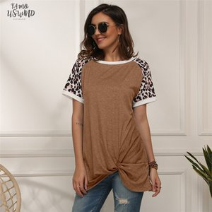 Leopard Short Sleeve T Shirt Women Tie Tops Tee Fashion Summer Loose Tee Shirts Women Clothes 2020 Long T Shirt T
