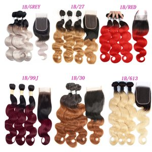 Brasilianische Ombre Haarkörperwelle Gerade Remy Haar spinnt 1B / 27 1B / 30 1B / 99J 1B / Rot 1B / 613 1B / GRAU Doppeleinschlagfäden