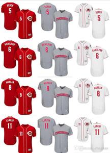 personalizzato Uomini Donne Giovani Majestic Reds Jersey # 5 Johnny Bench 6 Billy Hamilton 11 Barry Larkin 8 Joe Morgan Casa Rosso maglie da Baseball