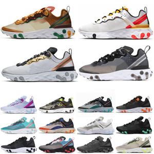 Nike react element 87 SHIFT Stability Running Shoes negro blanco atlético exterior Deportes Jogging zapatos entrenador zapatillas mujeres zapato envío gratis