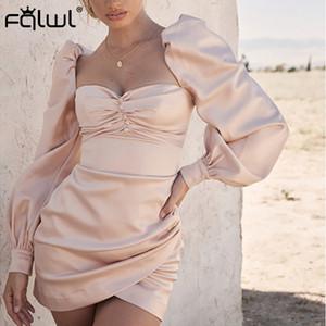 Fiesta Corto Vestido ajustado FQLWL soplo de la manga de satén rosa atractivo de las mujeres plisado sin espalda mini vestido de las señoras del otoño Mujer Eleagnt