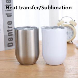vin de transfert de chaleur de sublimation de 10 oz gobelet bas diy à billes à double paroi à tambour en acier inoxydable avec couvercle à glissière