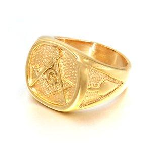 2019 новый синий мода золотой цвет мужчины масонское кольцо литье из нержавеющей стали масонство масонство кольца для мужских ювелирных изделий