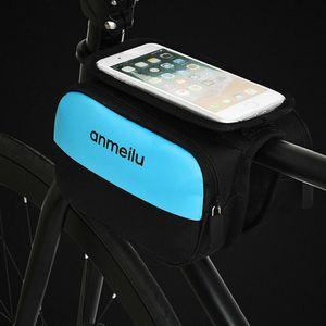 Telaio anteriore della bici sacchetto di riciclaggio impermeabile superiore della pagina del tubo tocco del telefono mobile Holder schermo Bike Bag Adatto Cellulari