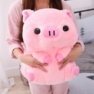 Rose Porc Assis Big Head Piggy En Peluche Enfants Huggable Animal En Peluche Jouet Enfants Sleeping Companion Apaisant Plushie 40 / 50cm SH190913