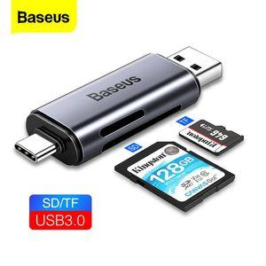 Baseus Card Reader USB 3.0 2 in 1 SD / TF Kart PC Bilgisayar Dizüstü için Cep Telefonu OTG Akıllı Bellek Tipi C Kart Okuyucu Adaptörü