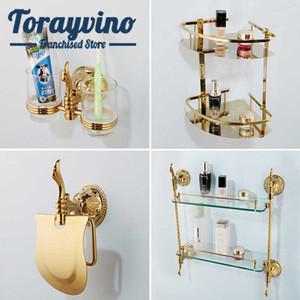 Banyo aksesuarı seti altın lüks Oyma kağıt tutucu Raf chambre çinko alaşımı duvar Donanım Setleri monte dökün accessoire