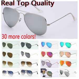 mens gafas de sol de la aviación con UV400 lentes de vidrio gafas de sol Gafas de sol des fundas de cuero libres originales, accesorios al por menor, caja!