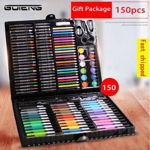 GUTENG 150Pcs Kids Art Set Children Drawing WaterColor Pen Crayon Oil Pastel Painting Tool Art supplies for Student Gift Box
