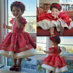 2020 Little Red Flower Girl Dresses for Wedding кружевная вышивка A Line Girls Pageant Dress оборками на заказ Детские платья на День Рождения