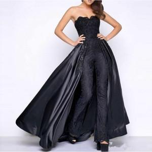블랙 레이스 얼룩 댄스 파티 푹신한 분리형 Overskirt 2019 Strapless Women Party Occasion 저녁 팬츠