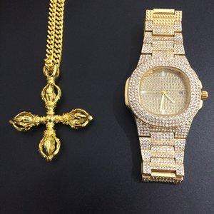 Gli uomini Hip Hop ha ghiacciato fuori tono oro con strass Guarda il Karma-Vajra croce pendente regola la collana di Miami Set Fashion Jewerly