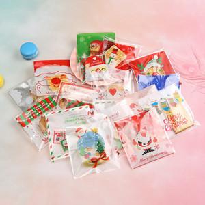 Cartoon-Geschenke Taschen Weihnachtszuckerplätzchen Verpackung Selbstklebende Kunststoff-Beutel für Snack-Backen-Paket-Beutel