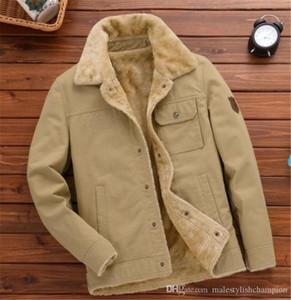 Mens Solid Color Добавить Бархатная куртка вскользь Mens отворотом шеи пальто Сыпучие Зимние погон Верхняя одежда Мода Бизнес Одежда