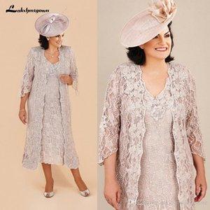 Talla grande Encaje Madre de la novia Trajes Vestidos con chaqueta larga Longitud de rodilla Manga larga Madre del novio Vestidos