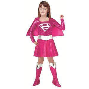 HUIHONSHE Novas crianças Vestuário de carnaval Crianças Rosa Costume Supergirl Dress HalloweenCosplay partido