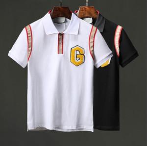 19SS Itália Designer camisa polo Homens Marca t camisas cobra tigre abelha floral bordado mens polos Moda de rua de alta listra impressão polo T-shirt