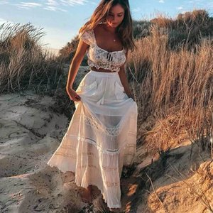 Boho Inspired Women's White Maxi Skirt patch pockets tassel tied skirts women corchet insert cotton casual chic long skirts 2020 Y200704