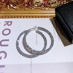 Gros- étincelant nouveau concepteur de luxe de la mode ins chaud cristal exagérée grandes boucles d'oreille cerceau pour les filles femme