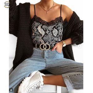Sexy scollo a V delle donne della stampa del leopardo della maglia senza maniche Top Slim camicette della camicia Donne Casal Vest Camis Drop Shipping