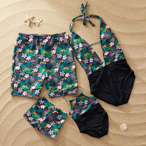 Family Swimwear Leaf Print Swimsuit Mother Daughter Bath Suits Dad Son Swim Shorts Mommy Daddy And Me Matching Clothes Outfits