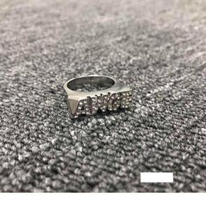 AWGE carta clásico anillo anular la ASAP Rocky con el oro y la plata al contado de dos colores de la perforación de superficie lisa