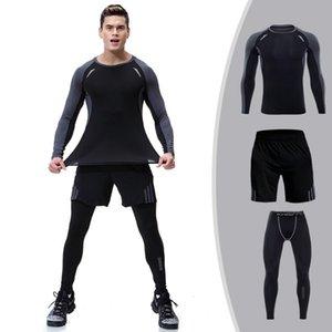 Sport Anzug Herren-enganliegende schnell trocknende Kleidung Yoga-Training Trainingskleidung mit langen Ärmeln im Freien Sportbekleidung Yoga Outfits läuft