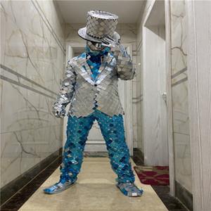 partido Q19 Ballroom dança de palco trajes de prata homens espelho terno espelho de vidro roupas usa cantor jaqueta espelho casaco disco show de partido desgasta