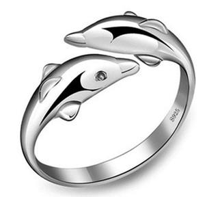Happy Double Dolphin Love Anello aperto Anello femminile