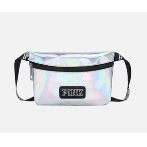 Mais novo 2018 fanny pack ROSA saco da menina bolsa de cintura mulheres Bolsas de praia bolsa de ombro A Laser hepttas bolsa holográfica cinto bum
