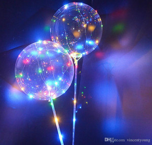 Stock Luminous LED Latex Balloons With Stick Giant Bright Balloon Kids Toy Festival Party Supplies Birthday Party Wedding Decorations