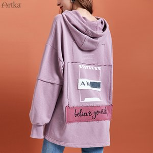 ARTKA 2019 Autumn New Women Hoodies Fashion Letter Embroidered Hoodies Long Loose Casual Pullover Hooded Sweatshirt VA10897Q T200407