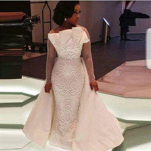 African 2020 Overskirts Wedding Dresses Sheer Neck Illusion Long Sleeves Plus Size Wedding Dress 3D Appliques Satin Bridal Gowns