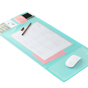 Korea Stationery Big Thick non-slip Desk Pad PU+PVC Double Pen Cover Layer Office Computer Desk Mat Learning Pad Pen Bag