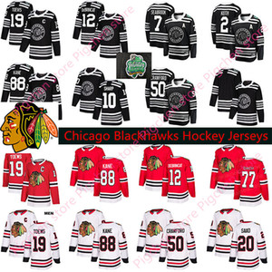 Männer Frauen Kinder Chicago Blackhawks Hockey 88 Patrick Kane 19 Jonathan Toews 2 Keith 20 Saad 12 Alex DeBrincat Red White Jerseys S-3XL