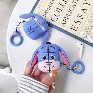 Cute 3D Cartoon Cover Bluetooth Wireless Earphone Silicone Case for AirPods 1 2 Headset Charging Box Bags with Ring Strap