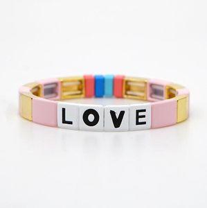 2020 Fancy Stil Lucky Charm Cuff Bilezik Bohemian kadın hediyeler için Renkli DIY Mektupları AŞK Boncuk Bilezikler Mücevher Boyalı