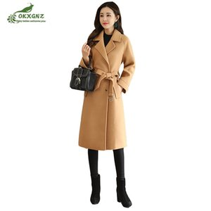 Alta qualità Inverno nuovo cappotto di lana temperamento moda femminile signora medio lungo Slim di cotone manica lunga giacca Nizi OKXGNZ