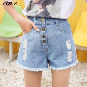 Pantalones cortos de mezclilla de cintura alta de ZQLZ mujeres pierna ancha ocasional femenina de verano cortocircuitos de las señoras de la vendimia jeans para mujeres